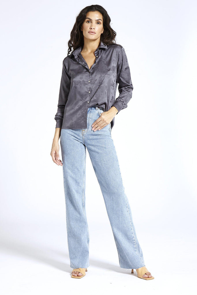 Aequem.com Shop Women's Ethical Fashion & Women's Sustainable Fashion Satin shirt in Jacquard Grey-Shirts-SixtyNinety (UK)