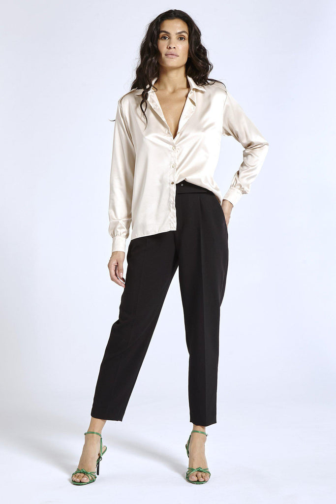 Aequem.com Shop Women's Ethical Fashion & Women's Sustainable Fashion Satin shirt in Nude-Shirts-SixtyNinety (UK)