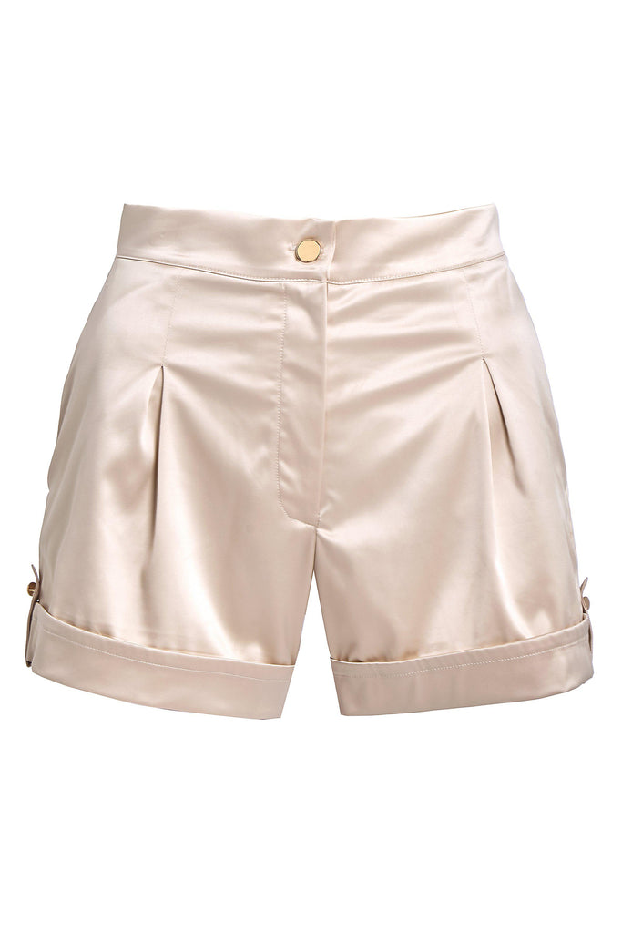 Aequem.com Shop Women's Ethical Fashion & Women's Sustainable Fashion Satin Tailored Shorts in Nude-Shorts-SixtyNinety (UK)