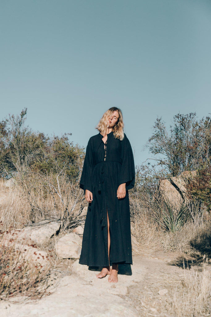 Aequem.com Shop Women's Ethical Fashion & Women's Sustainable Fashion Sayulita dress in Black-Dresses-A Perfect Nomad
