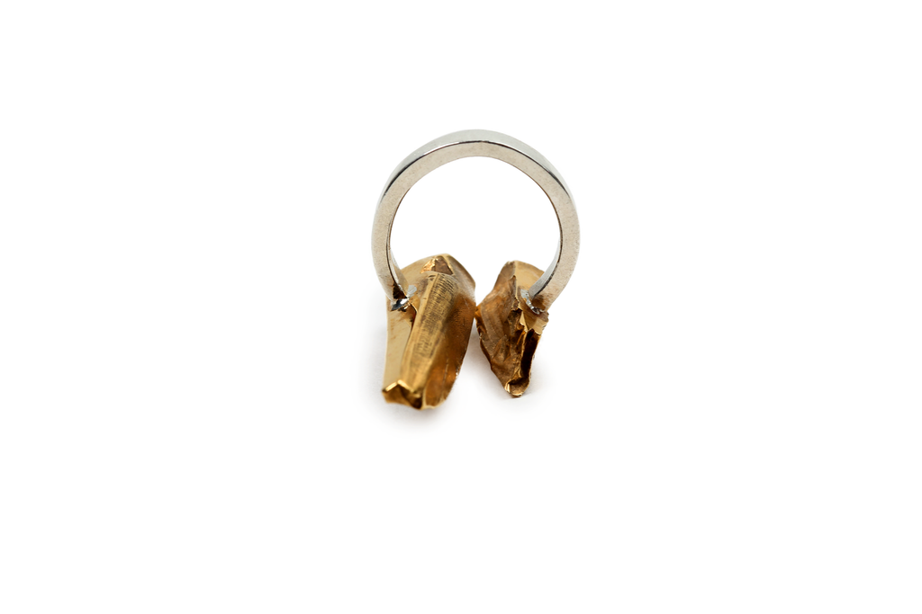 Aequem.com Shop Women's Ethical Fashion & Women's Sustainable Fashion Shattered Fragments Inbetween Recycled Yellow Gold Ring-Jewellery-Gina Melosi