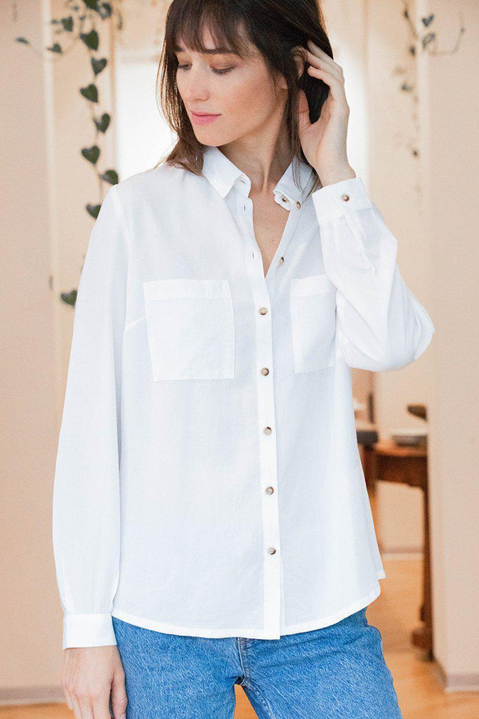 Aequem.com Shop Women's Ethical Fashion & Women's Sustainable Fashion Shirt Kauri in White-Shirts-AVANI