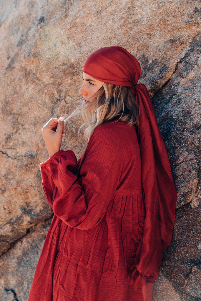 Aequem.com Shop Women's Ethical Fashion & Women's Sustainable Fashion Silk head scarf in Red-Scarves-A Perfect Nomad