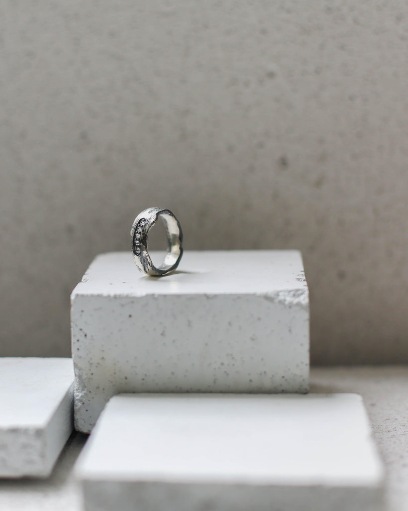 Aequem.com Shop Women's Ethical Fashion & Women's Sustainable Fashion Silver Lining Ring #3 with Recycled Silver-Jewellery-Gina Melosi