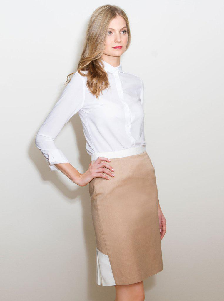Aequem.com Shop Women's Ethical Fashion & Women's Sustainable Fashion SIREL Beige Organic Cotton Skirt-Skirts-Kirivoo (UK)