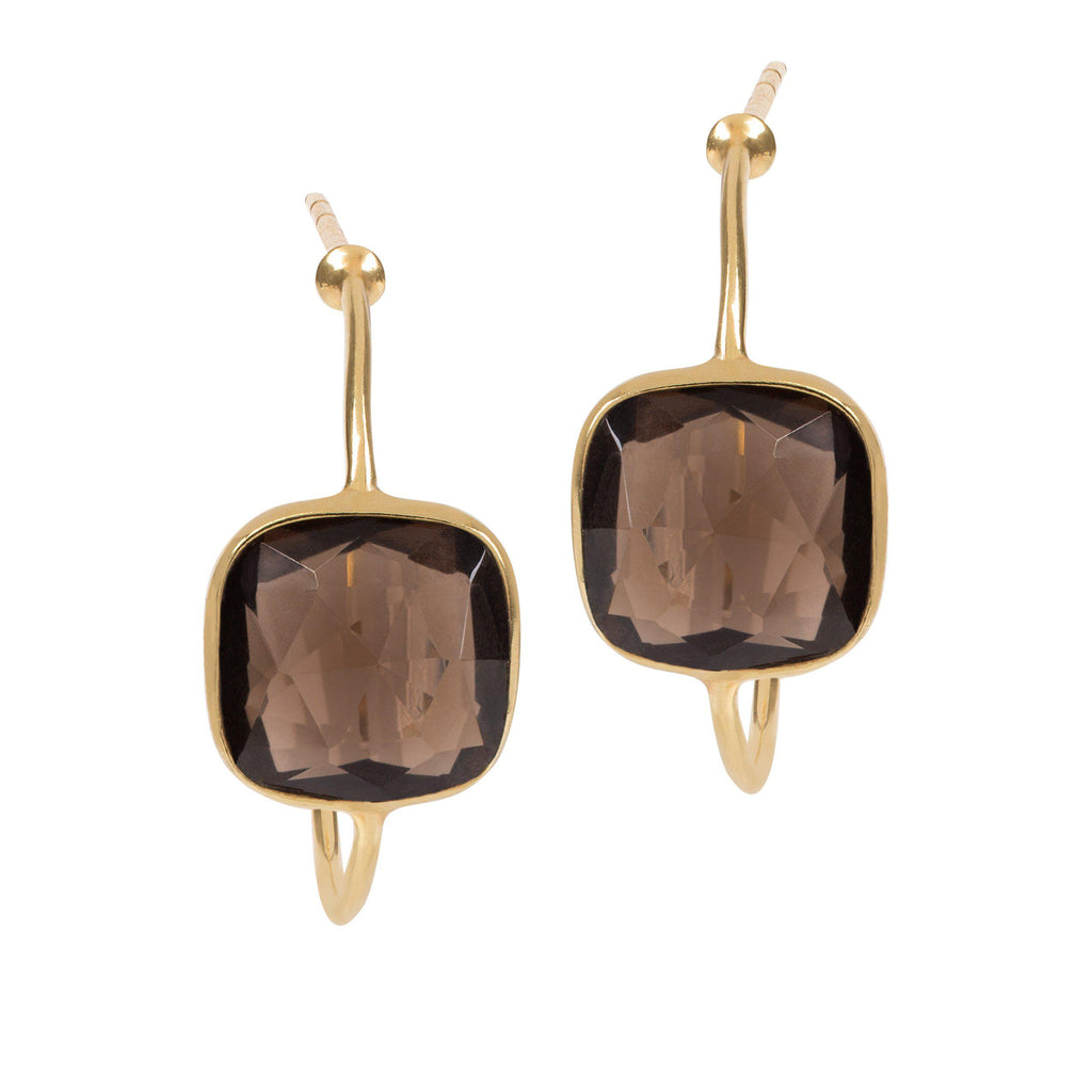 Aequem.com Shop Women's Ethical Fashion & Women's Sustainable Fashion Sophia Smoky Quartz Hoop Earrings In Gold-Jewellery-Amadeus (UK)