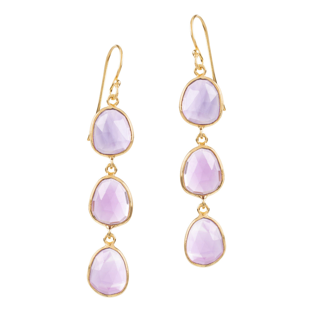 Aequem.com Shop Women's Ethical Fashion & Women's Sustainable Fashion Sophia Triple Amethyst Quartz Dangle Earrings In Gold-Jewellery-Amadeus (UK)