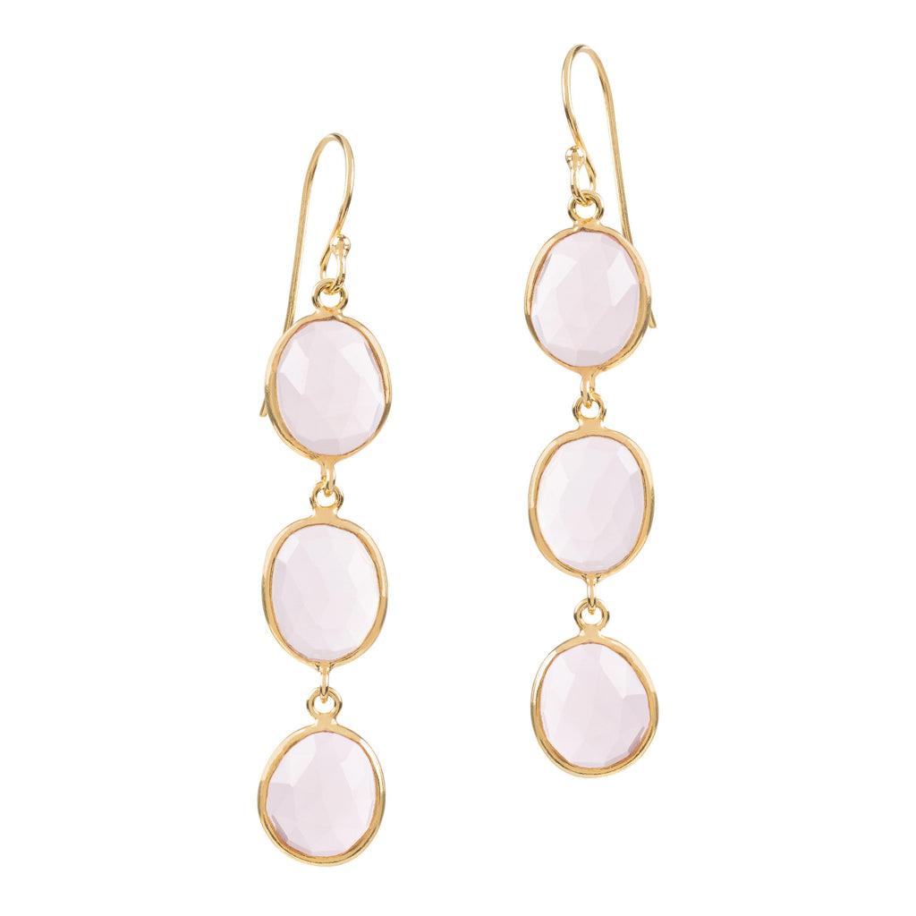 Aequem.com Shop Women's Ethical Fashion & Women's Sustainable Fashion Sophia Triple Pink Quartz Dangle Earrings In Gold-Jewellery-Amadeus (UK)