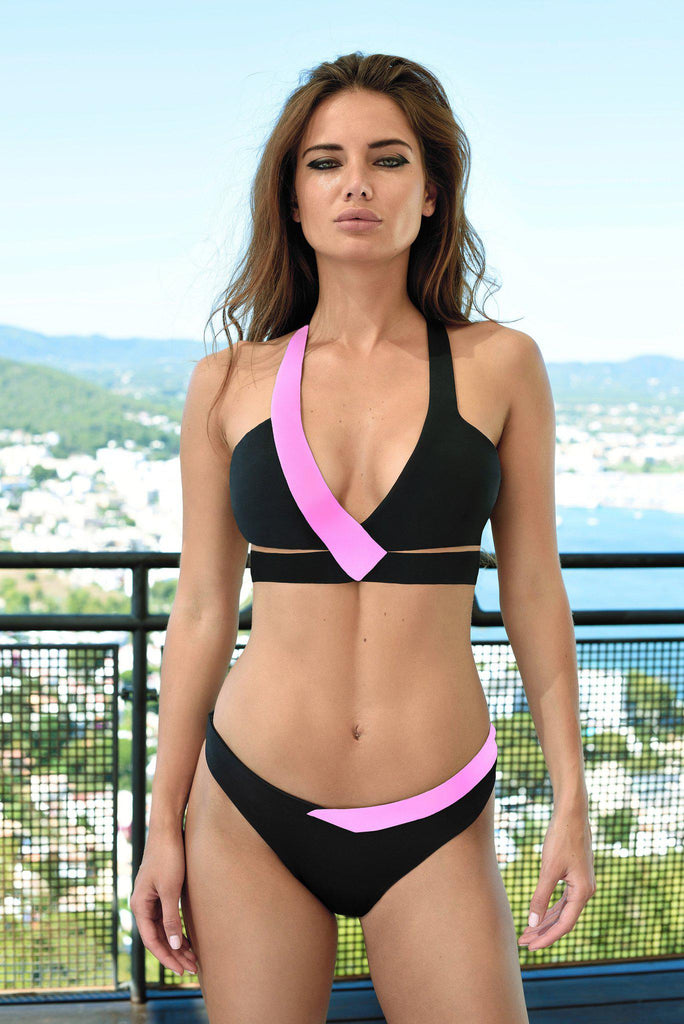 Aequem.com Shop Women's Ethical Fashion & Women's Sustainable Fashion Sulu Bikini in Black and Pink-Bikini Sets-WeAreNativ (UK)