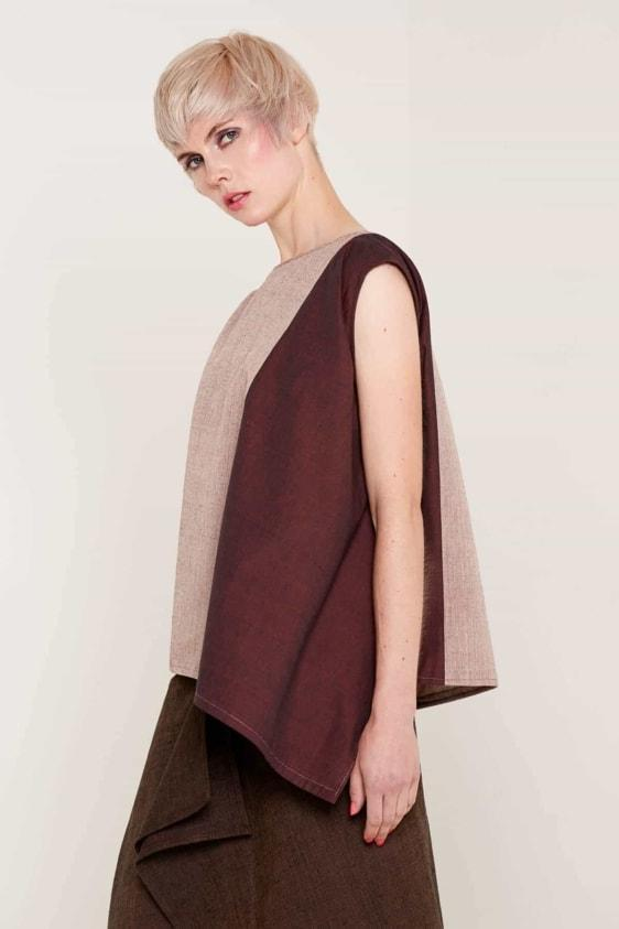 Aequem.com Shop Women's Ethical Fashion & Women's Sustainable Fashion Suzanne Top - Burgundy & Pink-Tops-Bo Carter (UK)