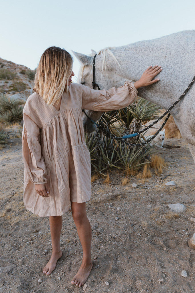 Aequem.com Shop Women's Ethical Fashion & Women's Sustainable Fashion Symi dress in Warm Sand-Dresses-A Perfect Nomad