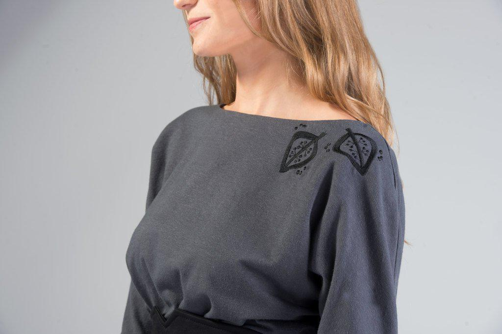 Aequem.com Shop Women's Ethical Fashion & Women's Sustainable Fashion TAEVI Grey Organic Cotton Blouse-Tops-Kirivoo (UK)