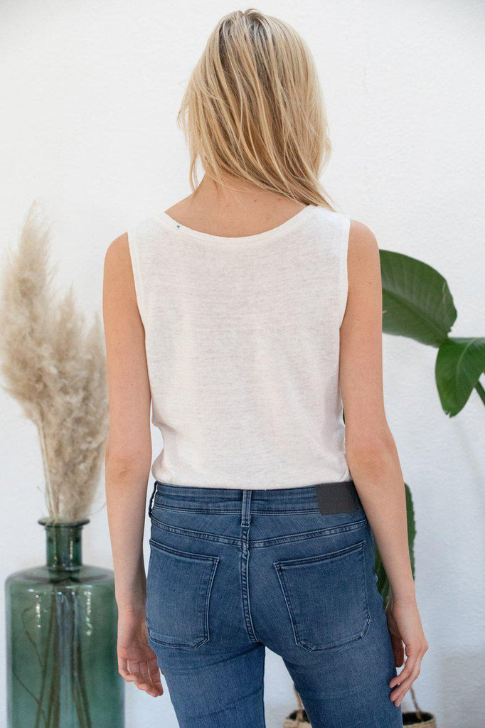 Aequem.com Shop Women's Ethical Fashion & Women's Sustainable Fashion Tank Top Lilas in Off-White-Tops-AVANI