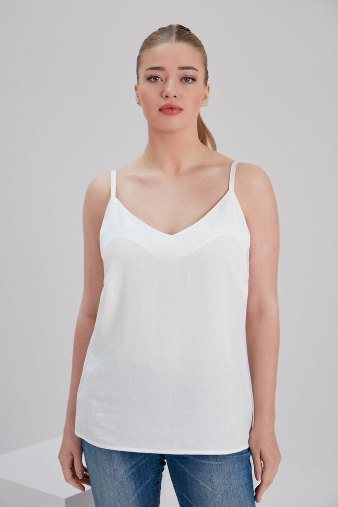 Aequem.com Shop Women's Ethical Fashion & Women's Sustainable Fashion Tencel Lin Sleeveless Top in White-Tops-NOACODE