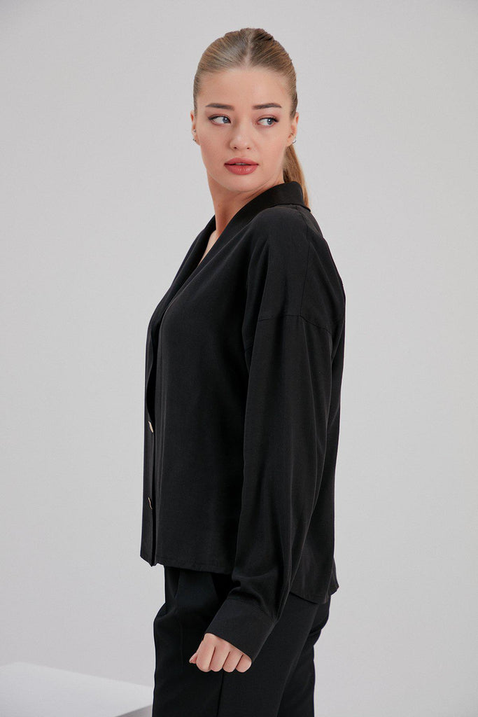 Aequem.com Shop Women's Ethical Fashion & Women's Sustainable Fashion Tencel Mar Blouse in Black-Tops-NOACODE