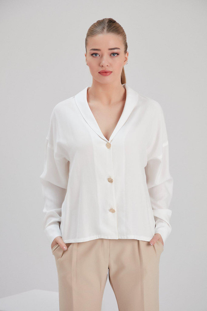 Aequem.com Shop Women's Ethical Fashion & Women's Sustainable Fashion Tencel Mar Blouse in White-Tops-NOACODE