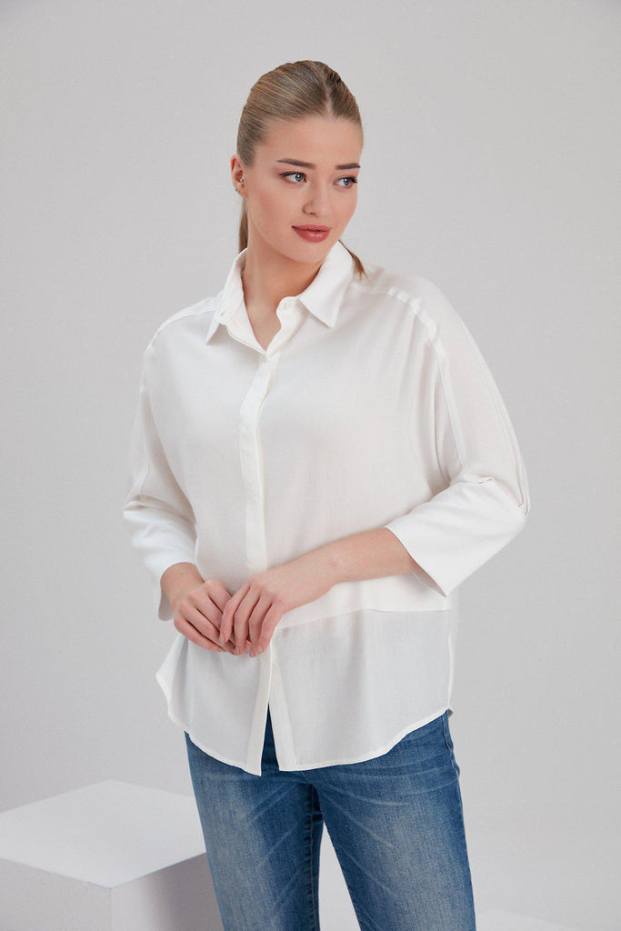 Aequem.com Shop Women's Ethical Fashion & Women's Sustainable Fashion Tencel Pia Shirt in White-Tops-NOACODE
