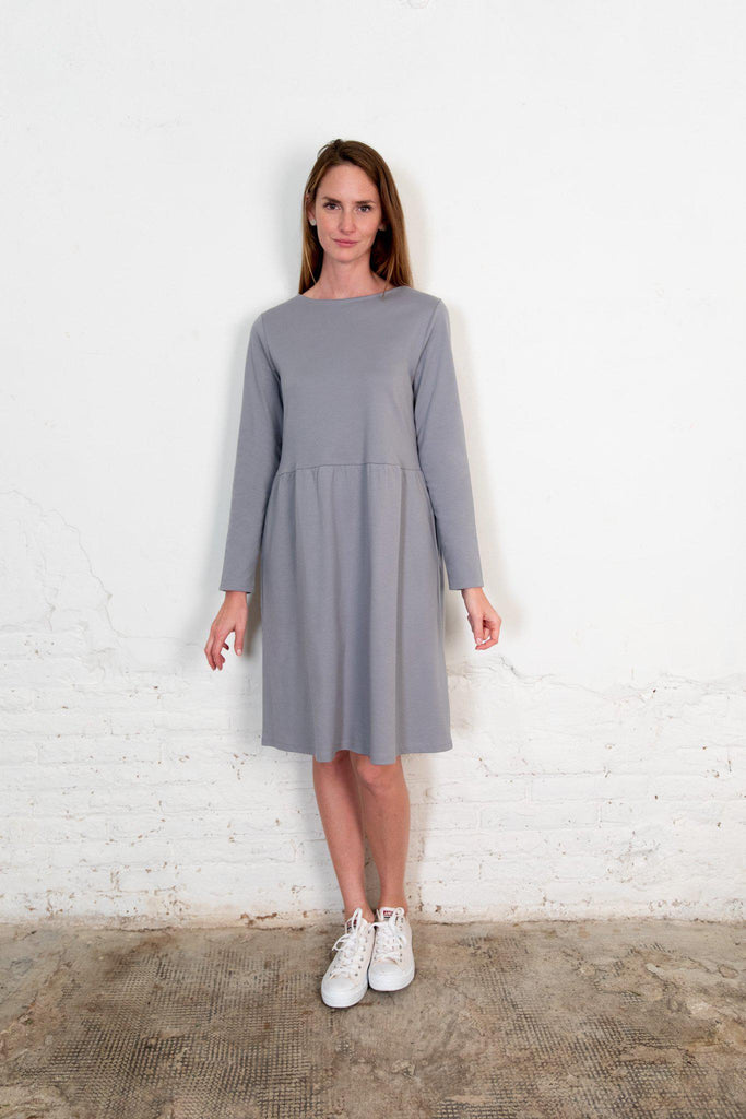 Aequem.com Shop Women's Ethical Fashion & Women's Sustainable Fashion The Annor Dress Gray-Dresses-The Nordic Leaves