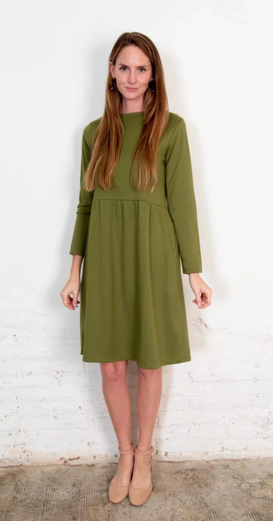 Aequem.com Shop Women's Ethical Fashion & Women's Sustainable Fashion The Annor Dress Olive-Dresses-The Nordic Leaves