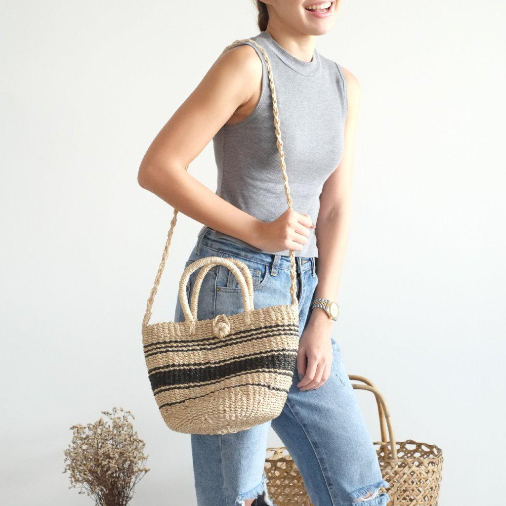 Aequem.com Shop Women's Ethical Fashion & Women's Sustainable Fashion Tisa Tote Sling - Black & White Mix-Tote Bags-INNÉ Studios