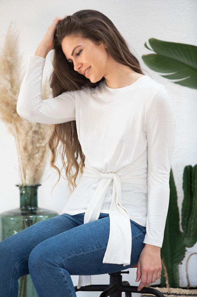 Aequem.com Shop Women's Ethical Fashion & Women's Sustainable Fashion Top Gardenia in off-white-Tops-AVANI
