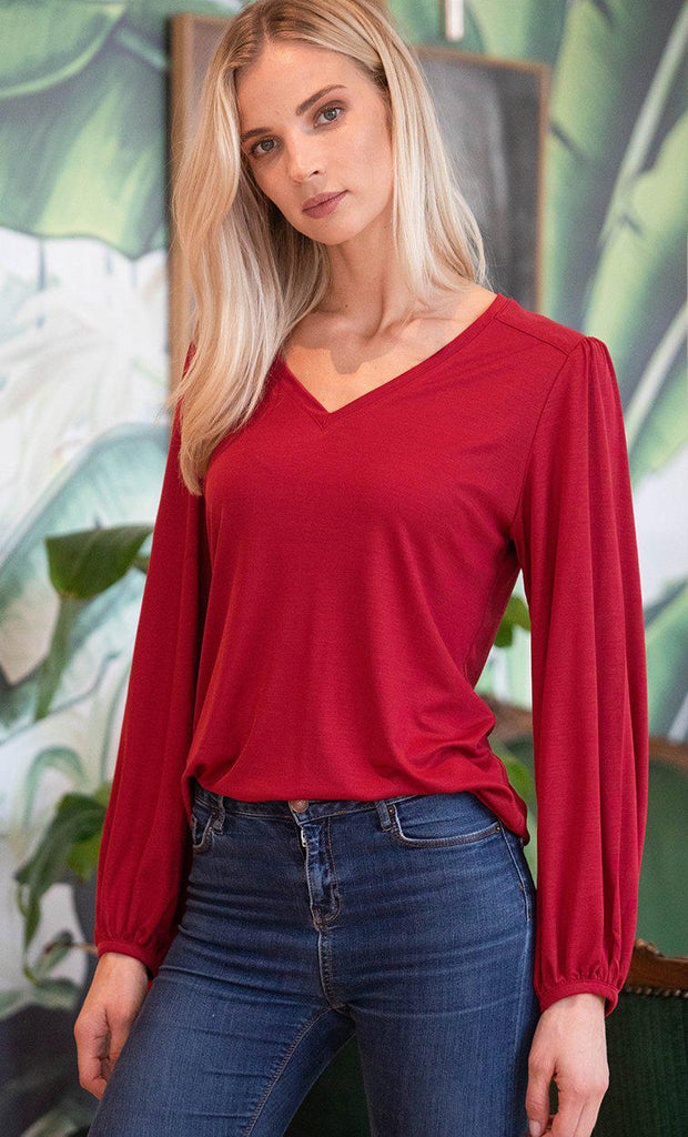 Aequem.com Shop Women's Ethical Fashion & Women's Sustainable Fashion Top Kalmia in Red-Tops-AVANI