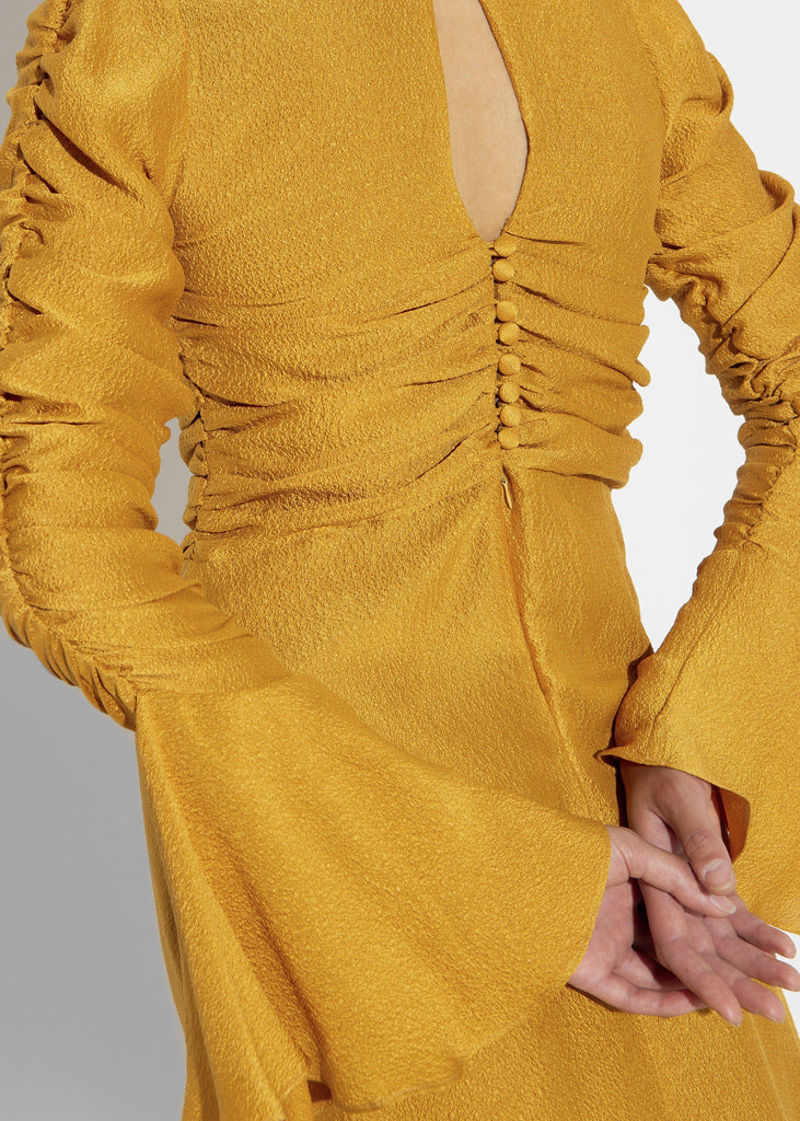 Aequem.com Shop Women's Ethical Fashion & Women's Sustainable Fashion Upcycled Rushed Mustard Silk Dress Vandene-Dresses-Reda Paula