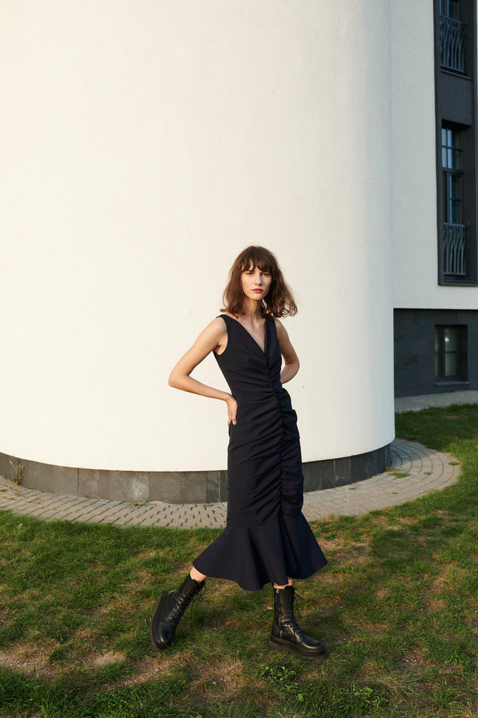 Aequem.com Shop Women's Ethical Fashion & Women's Sustainable Fashion Upcycled Rushed Wool Dress Lelija in Black-Dresses-Reda Paula