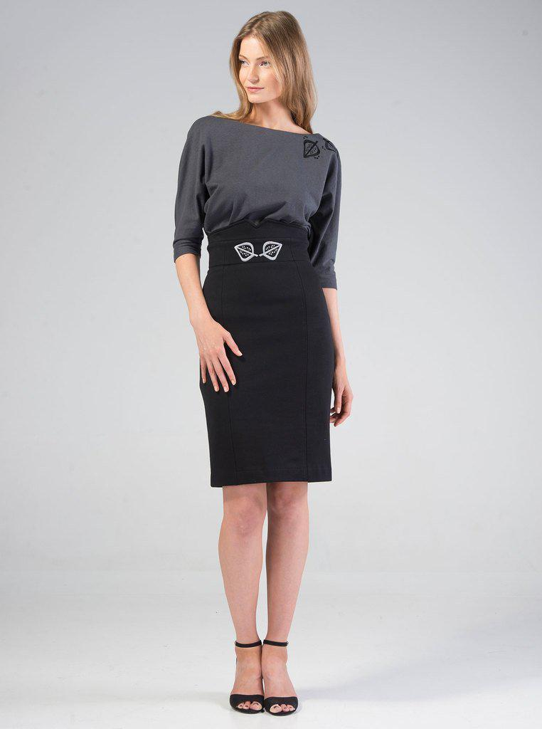 Aequem.com Shop Women's Ethical Fashion & Women's Sustainable Fashion VAIKE Black Organic Cotton Skirt-Skirts-Kirivoo (UK)