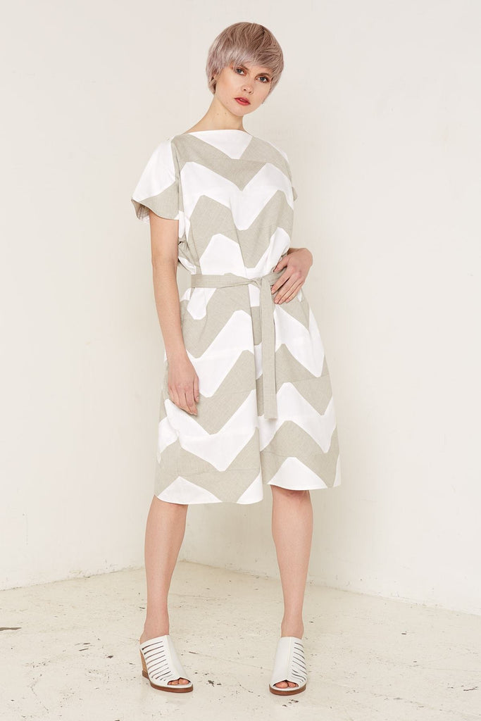 Aequem.com Shop Women's Ethical Fashion & Women's Sustainable Fashion Venus Dress - Grey & White-Dresses-Bo Carter (UK)