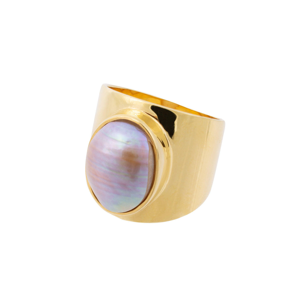 Aequem.com Shop Women's Ethical Fashion & Women's Sustainable Fashion Venus Grey Pearl Ring In Gold-Jewellery-Amadeus (UK)