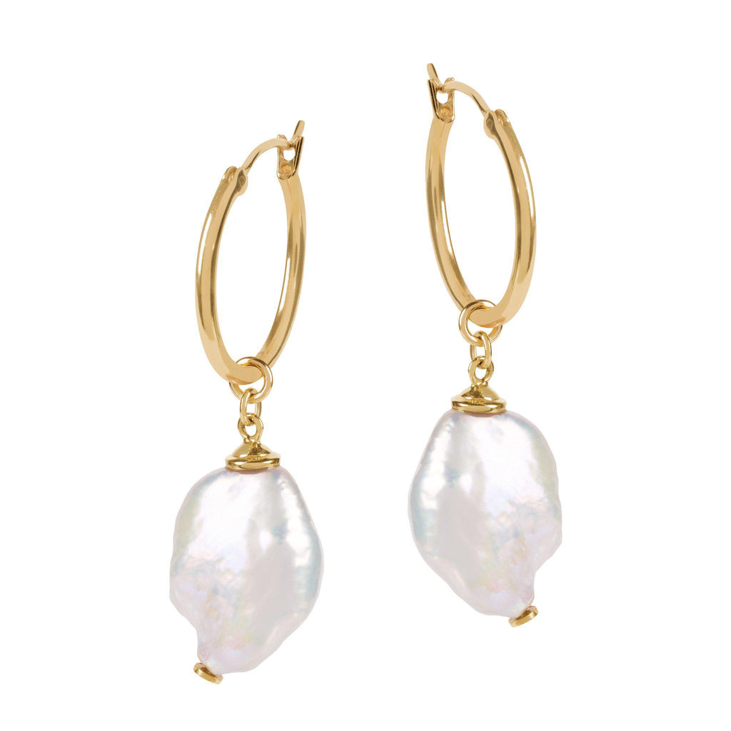 Aequem.com Shop Women's Ethical Fashion & Women's Sustainable Fashion Venus Hoop Earrings With Large Keshi Pearl In Gold-Jewellery-Amadeus (UK)