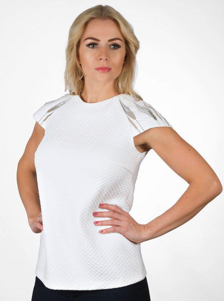 Aequem.com Shop Women's Ethical Fashion & Women's Sustainable Fashion VILI White Organic Cotton Embroidered Blouse-Tops-Kirivoo (UK)