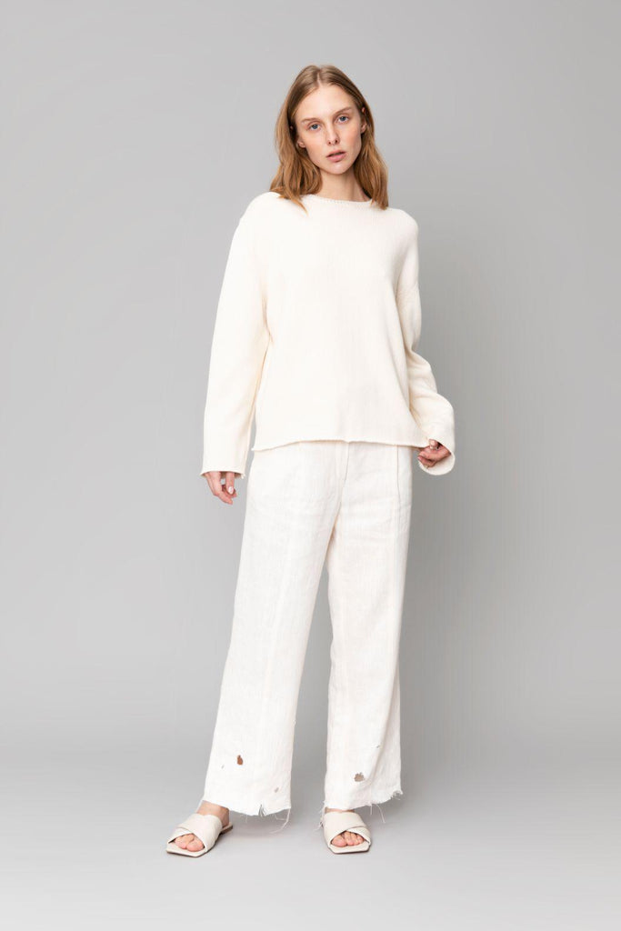Aequem.com Shop Women's Ethical Fashion & Women's Sustainable Fashion White Linen Pants Potija-Bottoms-Reda Paula