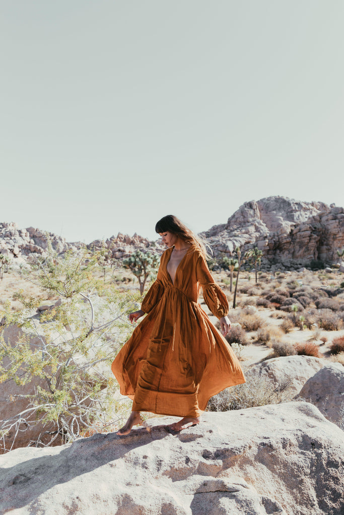 Aequem.com Shop Women's Ethical Fashion & Women's Sustainable Fashion Wild Heart dress in Ochre-Dresses-A Perfect Nomad