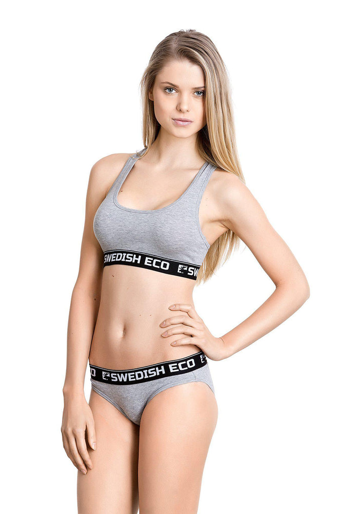 Aequem.com Shop Women's Ethical Fashion & Women's Sustainable Fashion Women's Grey Melange Fitness / Yoga Organic Cotton Bralette-Underwears-Swedish Eco