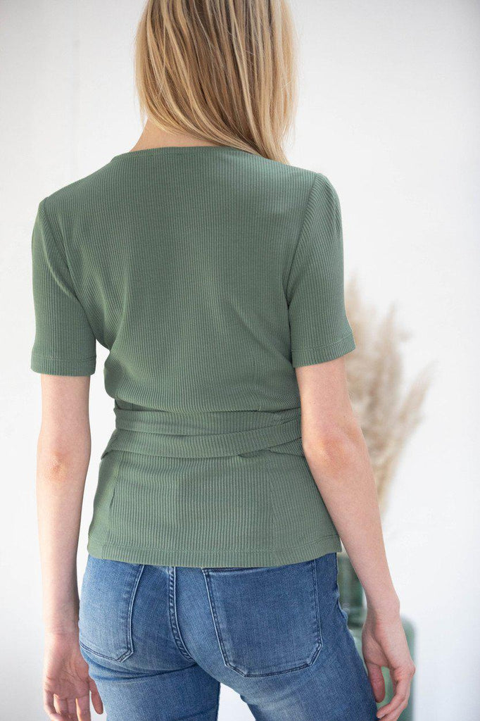 Aequem.com Shop Women's Ethical Fashion & Women's Sustainable Fashion Wrap-over top Olivier in green-Tops-AVANI