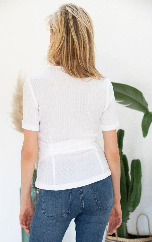 Aequem.com Shop Women's Ethical Fashion & Women's Sustainable Fashion Wrap-over top Olivier in white-Tops-AVANI