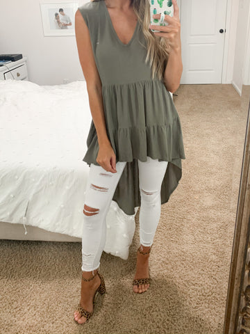 Olivia High Low tunic - Silver Olive