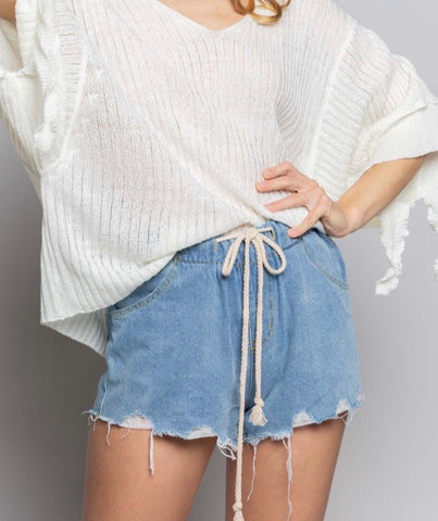 Bre Drawstring Denim Shorts