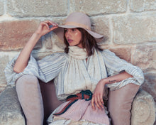 Load image into Gallery viewer, Kate and Confusion pink wool felt floppy ladies hat with grosgrain ribbon