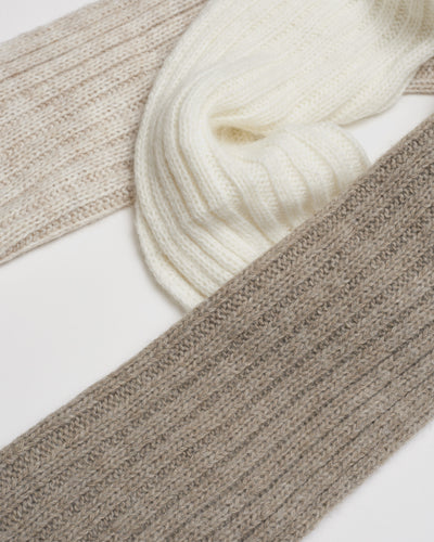 Kate and Confusion ladies wool knit scarf in ivory and beige and brown