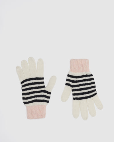 Kate and Confusion wool blend stripe ladies knit gloves in black, ivory and pink