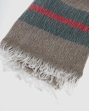 Load image into Gallery viewer, Kate & Confusion ladies brown wool scarf with stripe boarder