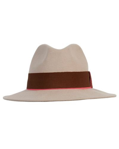 Kate and Confusion beige womens wool felt fedora hat