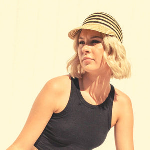 Kate and Confusion Summer Stripe Straw Ladies Cap