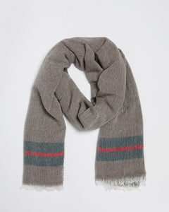 Kate & Confusion Ladies brown wool scarf with stripe boarder