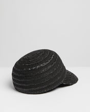 Load image into Gallery viewer, Kate and Confusion black women's summer  straw cap hat