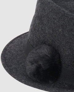 kate and confusion grey wool felt ladies trilby hat