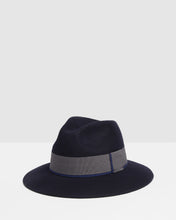 Load image into Gallery viewer, Kate and Confusion Navy wool ladies fedora hat